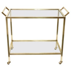 Midcentury Two Levels Glass and Brass Italian Service Bar Cart, 1970s