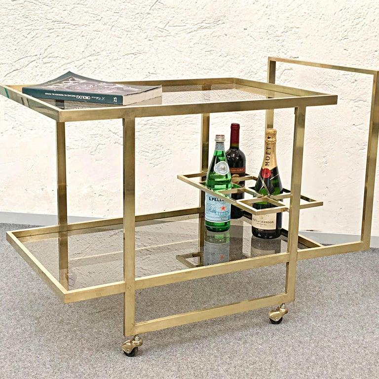 Midcentury Two Levels Smoked Glass and Brass Bar Cart with Bottle Holder, 1970s For Sale 6