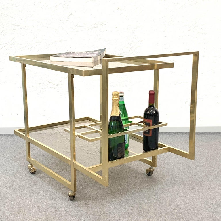 Midcentury Two Levels Smoked Glass and Brass Bar Cart with Bottle Holder, 1970s For Sale 9