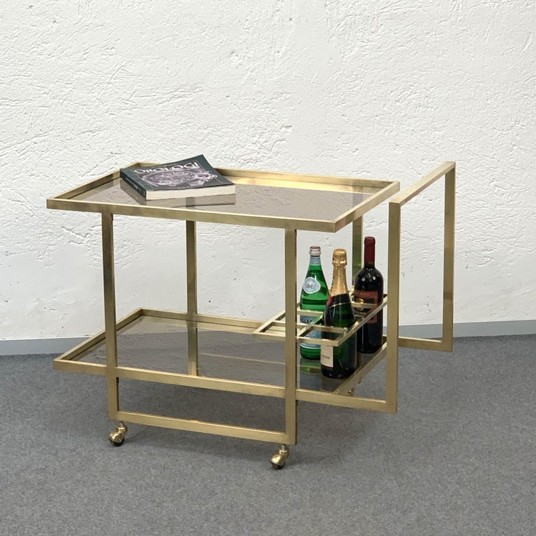 Midcentury Two Levels Smoked Glass and Brass Bar Cart with Bottle Holder, 1970s For Sale 12