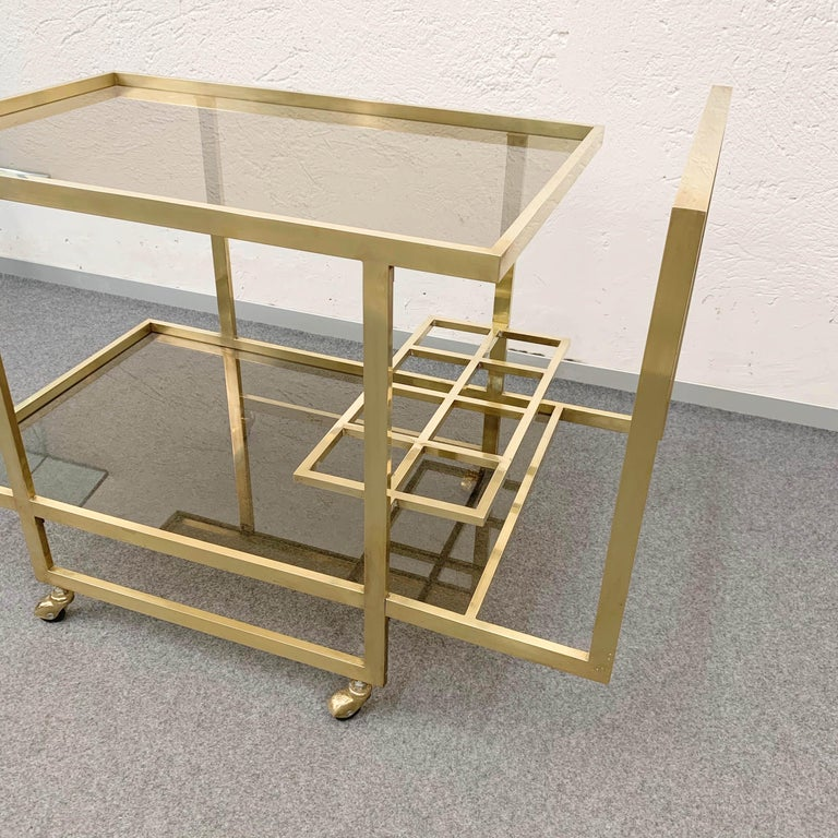 Mid-Century Modern Midcentury Two Levels Smoked Glass and Brass Bar Cart with Bottle Holder, 1970s For Sale
