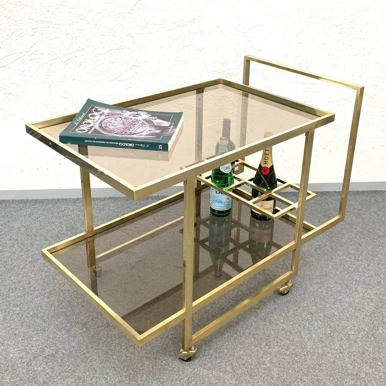 20th Century Midcentury Two Levels Smoked Glass and Brass Bar Cart with Bottle Holder, 1970s For Sale