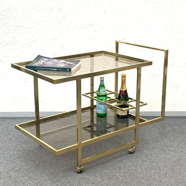 Midcentury Two Levels Smoked Glass and Brass Bar Cart with Bottle Holder, 1970s For Sale 3
