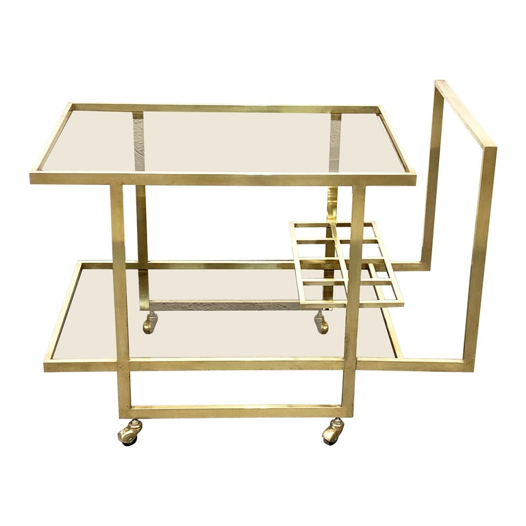 Midcentury Two Levels Smoked Glass and Brass Bar Cart with Bottle Holder, 1970s For Sale