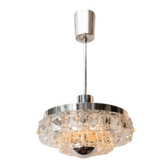Midcentury Two-Tier Faceted Glass Chandelier by Kinkeldey with Chrome Fittings