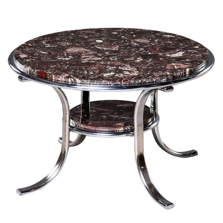 Midcentury Two-Tier Polished Nickel and Marble Cocktail Table For Sale