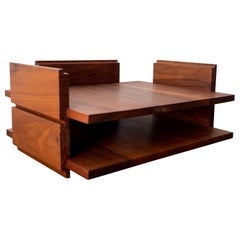 Midcentury Two Tier Stackable Solid Walnut Letter Tray