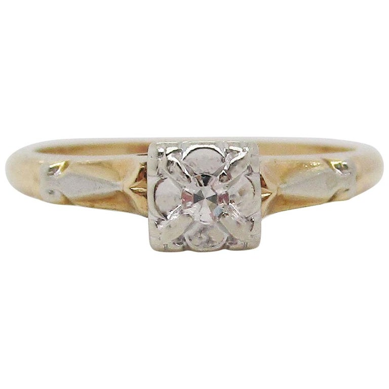 Midcentury Two-Tone 14 Karat Gold Single Cut Diamond Engagement Ring For Sale