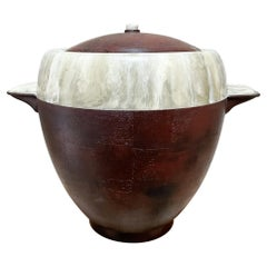 Midcentury Two Tone Ice Bucket in Faux Wood & Marble Stone 1950s Mexico Modern