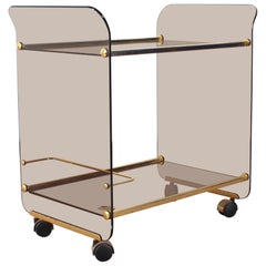 Midcentury U. Mascagni Curved Glass and Golden Brass Serving Bar Cart, Italy