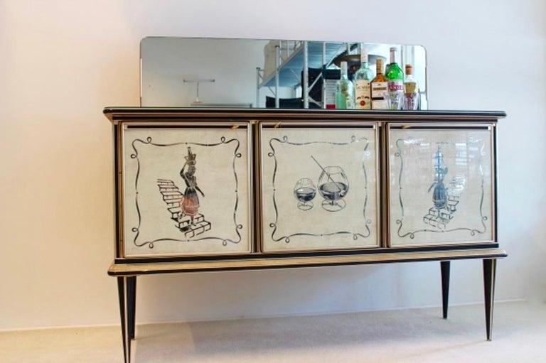 Midcentury Umberto Mascagni Bar Cabinet for Harrods London, 1950s For Sale 5