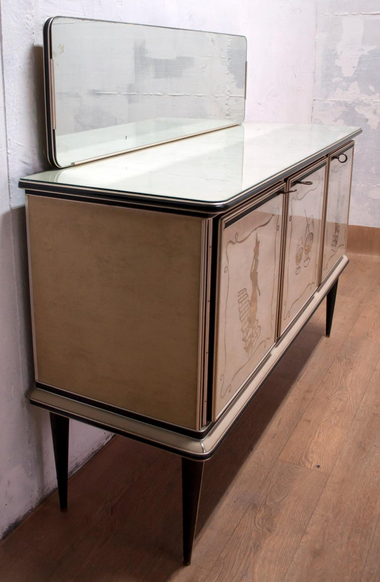 Umberto Mascagni for Harrods London Midcentury Italian Bar Cabinet, 1950s For Sale 6