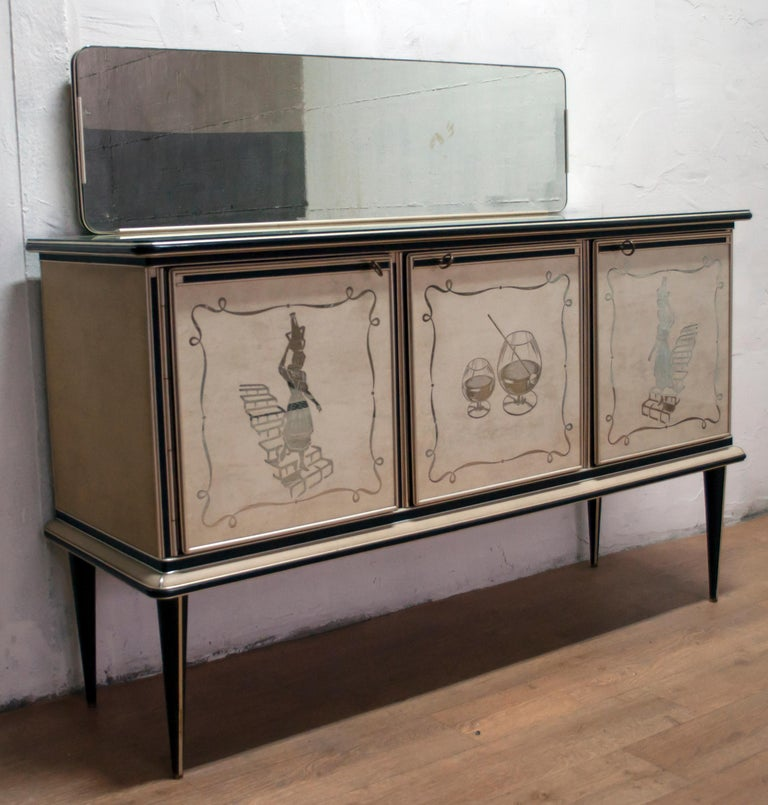 Mid-Century Modern Umberto Mascagni for Harrods London Midcentury Italian Bar Cabinet, 1950s For Sale