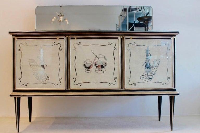 Italian Midcentury Umberto Mascagni Bar Cabinet for Harrods London, 1950s For Sale
