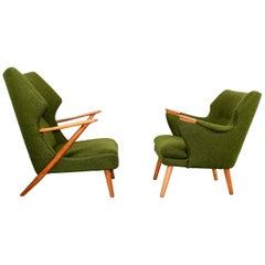 "Midcentury Unique and Very Rare Set Kurt Olsen Lounge Chairs ""Papa Bear"""