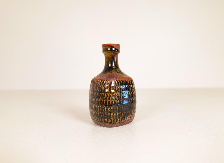 Midcentury Unique Stig Lindberg Ceramic Vase and Bowl Gustavsberg Sweden, 1960s For Sale 8