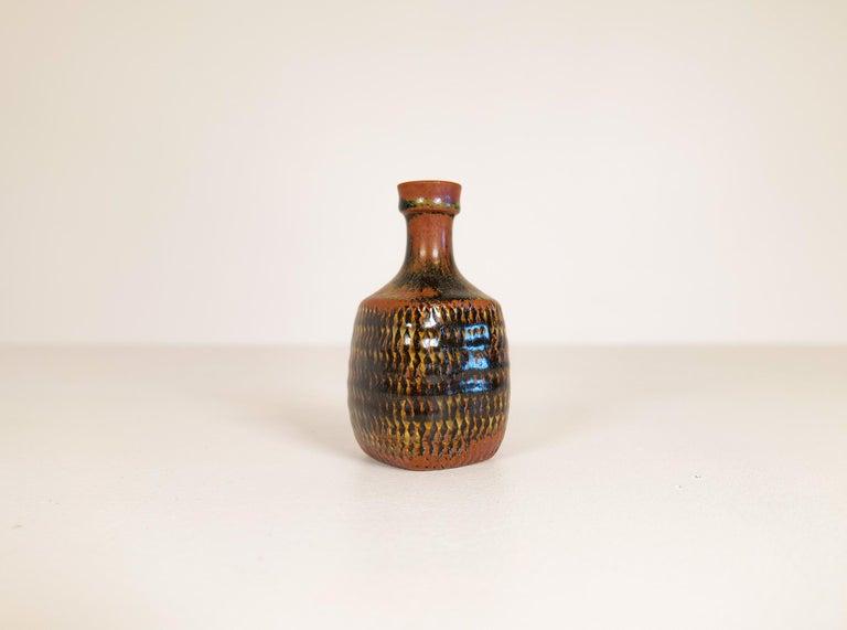Midcentury Unique Stig Lindberg Ceramic Vase and Bowl Gustavsberg Sweden, 1960s For Sale 9