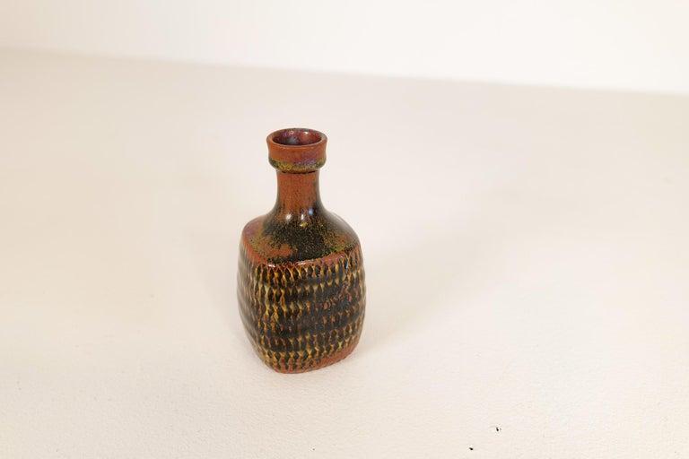 Midcentury Unique Stig Lindberg Ceramic Vase and Bowl Gustavsberg Sweden, 1960s For Sale 10