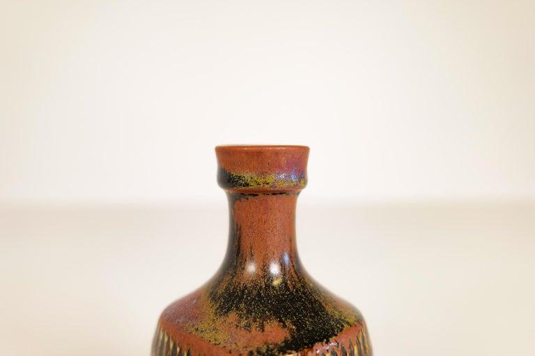 Midcentury Unique Stig Lindberg Ceramic Vase and Bowl Gustavsberg Sweden, 1960s For Sale 11