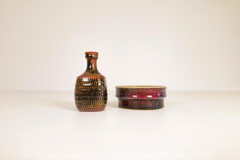 Mid-Century Modern Midcentury Unique Stig Lindberg Ceramic Vase and Bowl Gustavsberg Sweden, 1960s For Sale