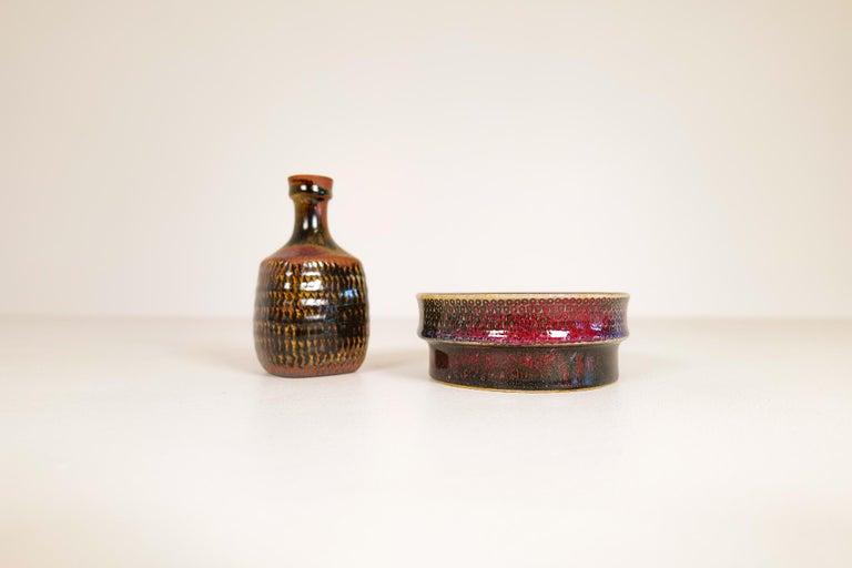 Swedish Midcentury Unique Stig Lindberg Ceramic Vase and Bowl Gustavsberg Sweden, 1960s For Sale