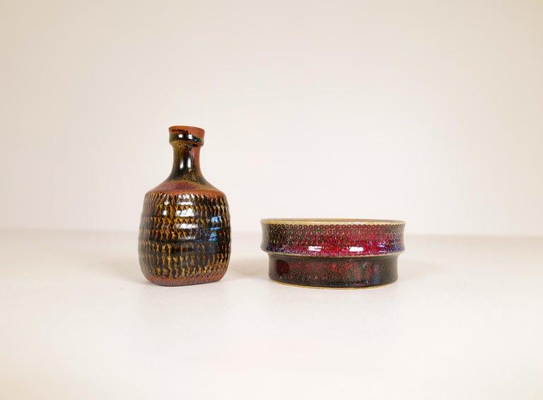 Glazed Midcentury Unique Stig Lindberg Ceramic Vase and Bowl Gustavsberg Sweden, 1960s For Sale