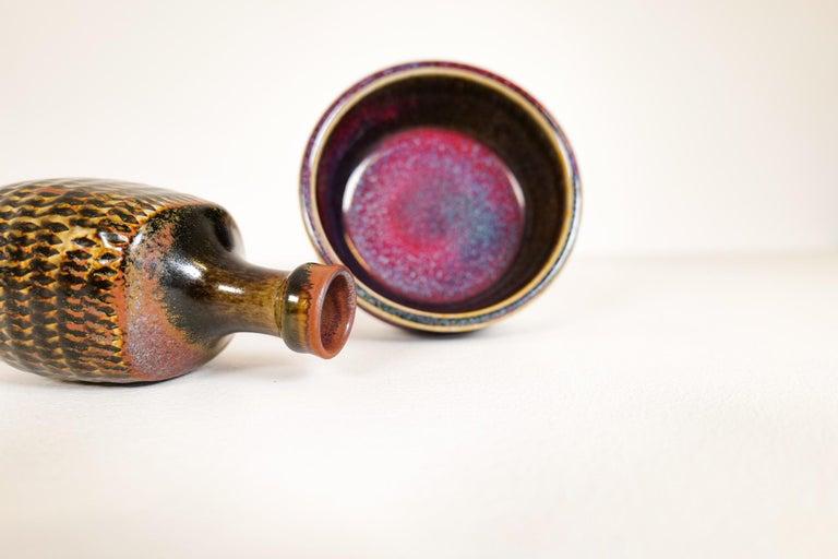 Midcentury Unique Stig Lindberg Ceramic Vase and Bowl Gustavsberg Sweden, 1960s For Sale 1
