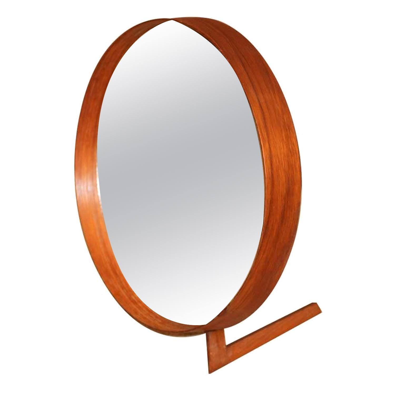 Midcentury Uno and Osten Kristiansson Teak Table Mirror Luxus, Sweden