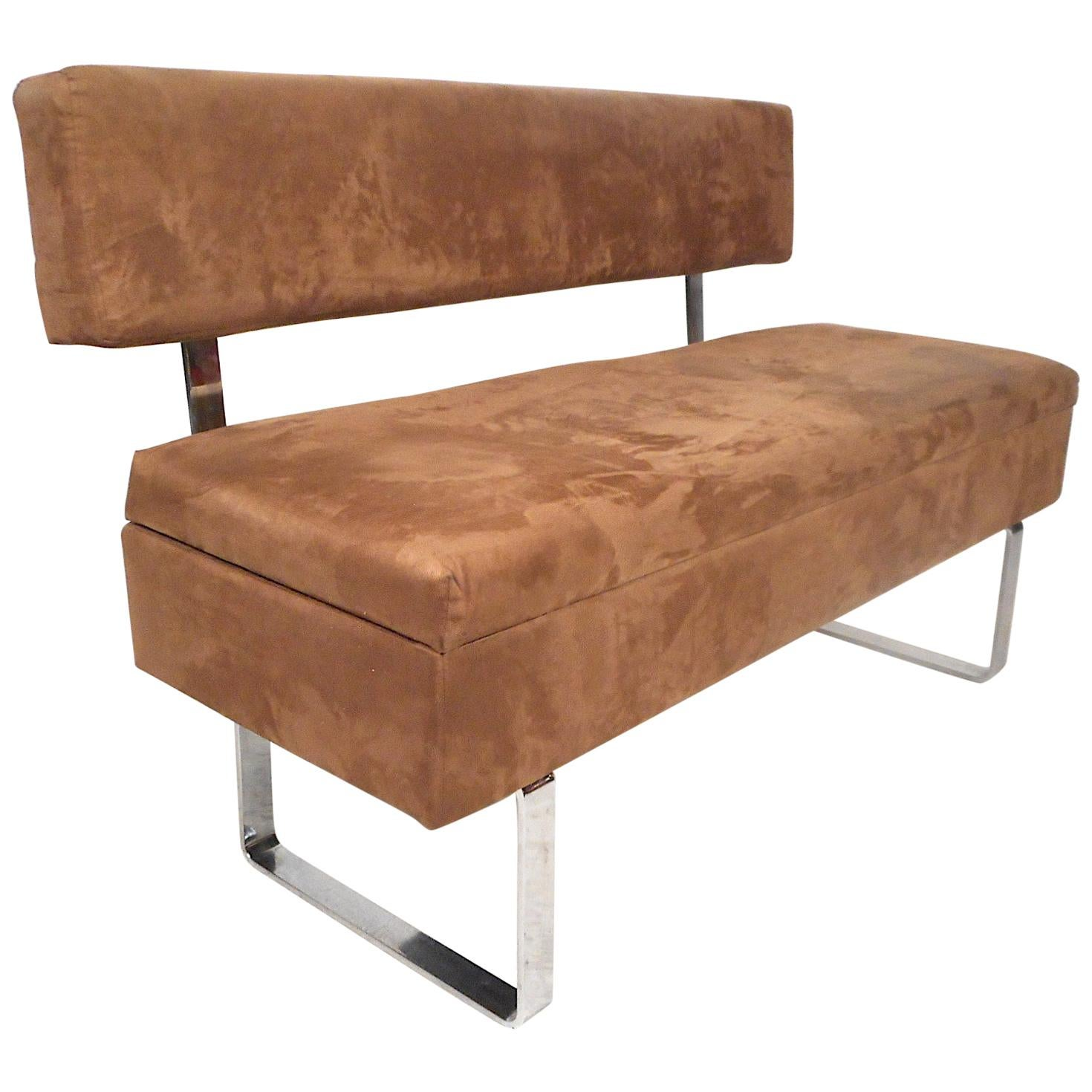 Midcentury Upholstered Bench with Storage Compartment