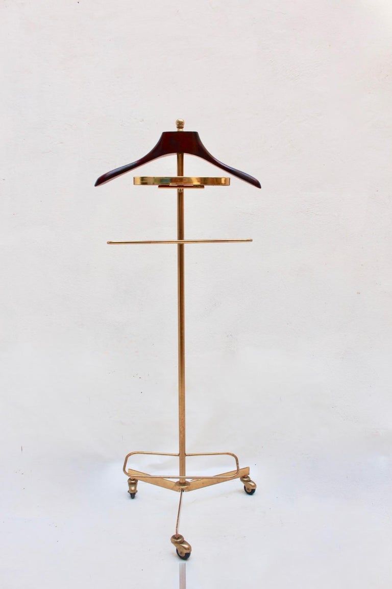 Midcentury valet clothes metal & wood stand, 1950s.