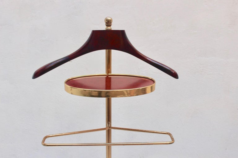 Mid-Century Modern Midcentury Valet Clothes Metal & Wood Stand with Wheels, 1950s For Sale