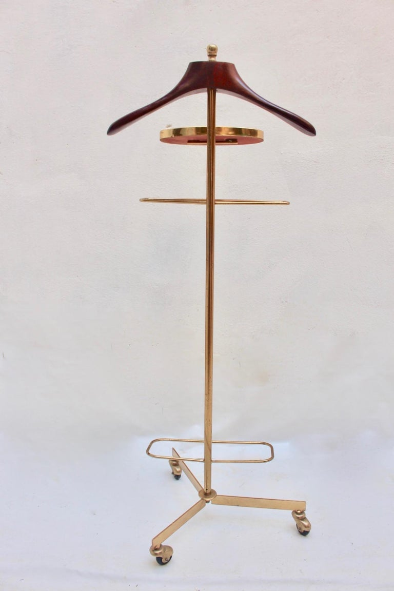 Midcentury Valet Clothes Metal & Wood Stand with Wheels, 1950s For Sale 1