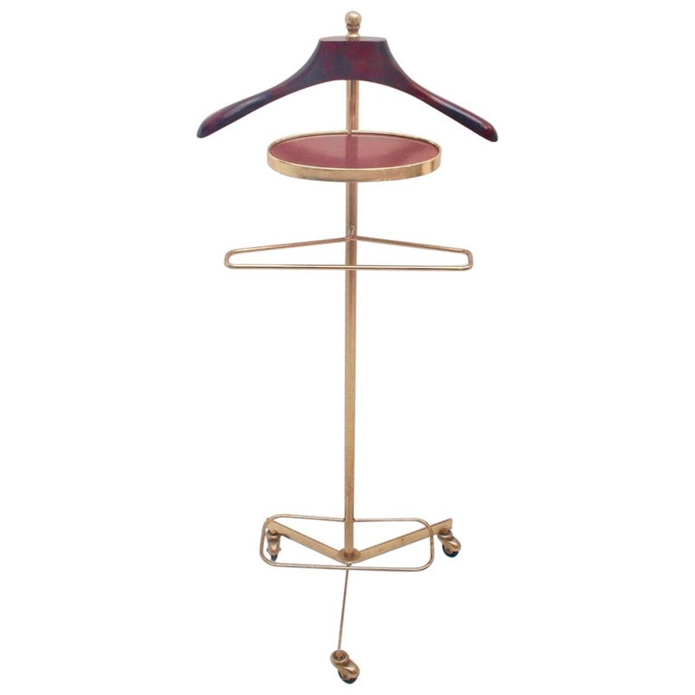 Midcentury Valet Clothes Metal & Wood Stand with Wheels, 1950s For Sale