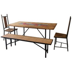 Midcentury, Vallauris Bamboo Capron Dining Table Set with 2 Chairs and 1 Bench