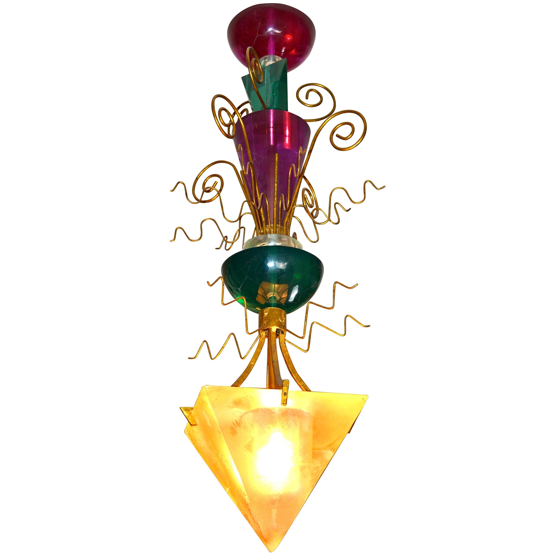 Midcentury Van Teal Colored Lucite Chandelier