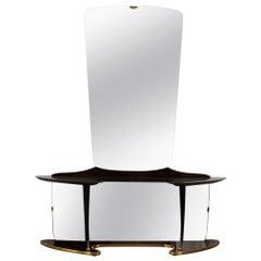 Midcentury Mirror Vanity with Opulent Base, Wooden Elements and Brass Fixtures