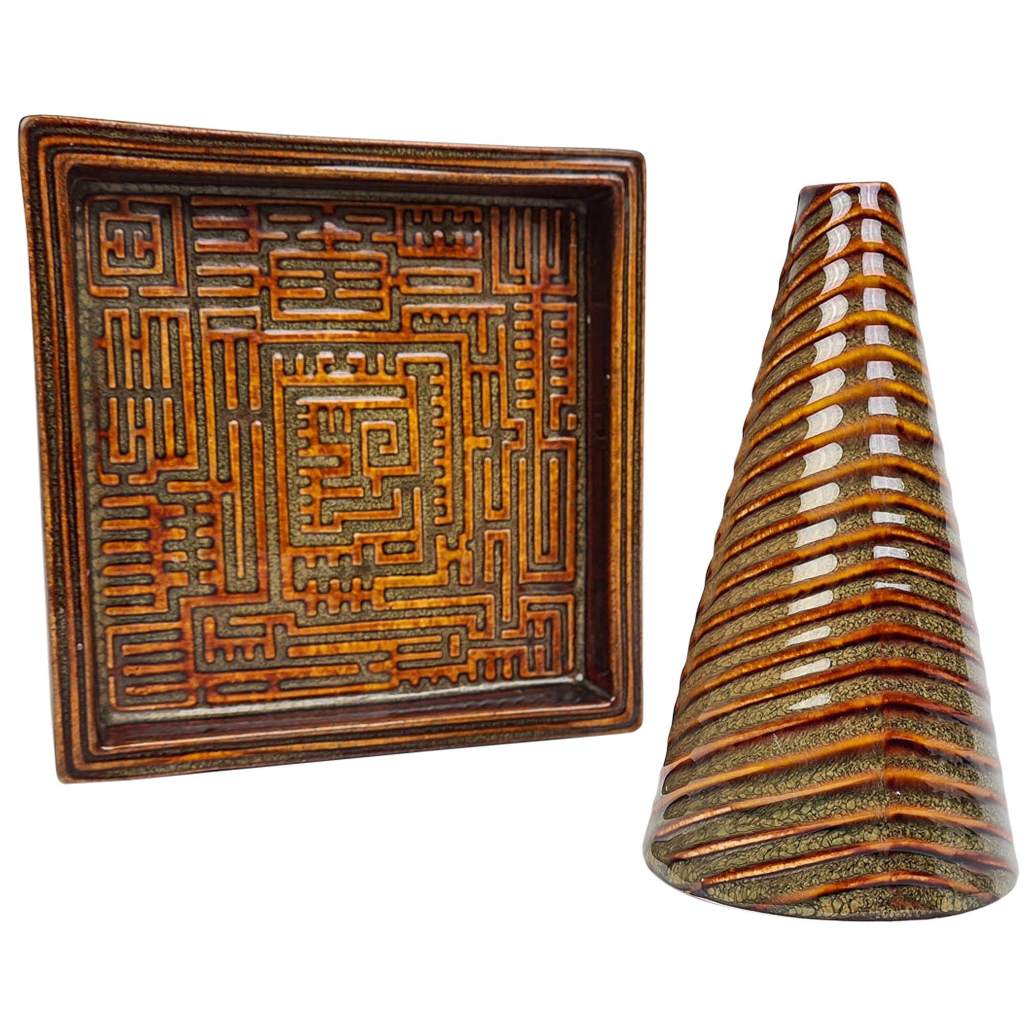 "Midcentury Vase and Bowl ""Domino"" Stig Lindberg, Gustavsberg, Sweden"