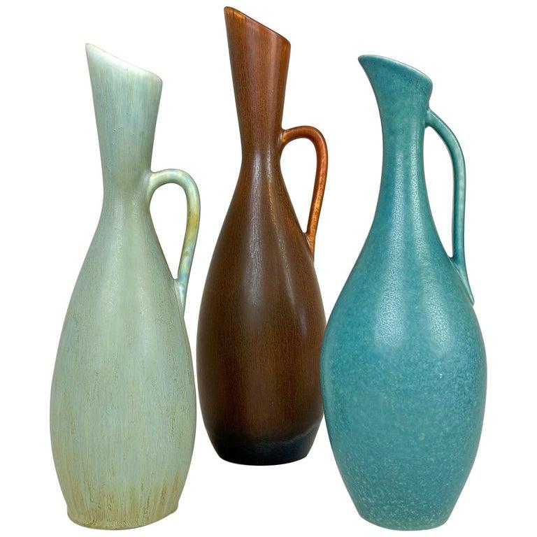 R\u00f6rstrand Vintage 1950s Vase Ritzi Bulb Design by Gunnar Nylund Tan Pottery Geometric Design Scandinavian Modern Decor Made in Sweden