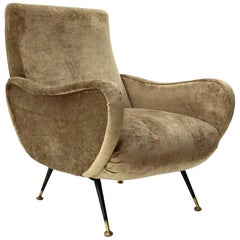 Midcentury Velvet Italian Armchair, 1950s