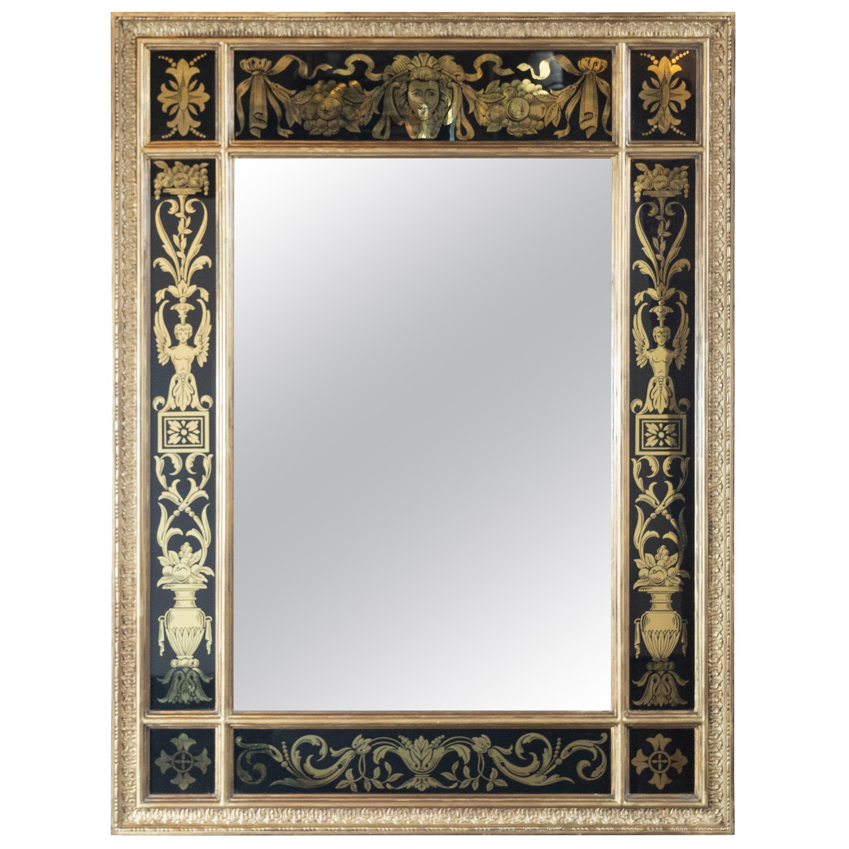 Midcentury Venetian Reverse Églomisé Gilded Wall Mirror w/ Neoclassical Details