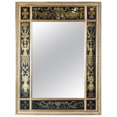 Midcentury Venetian Reverse Églomisé Gilded Wall Mirror w/ Neoclassical Details