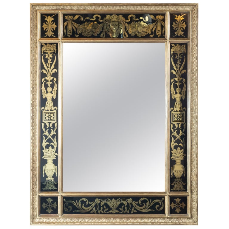 Midcentury Venetian Reverse Églomisé Gilded Wall Mirror w/ Neoclassical Details For Sale