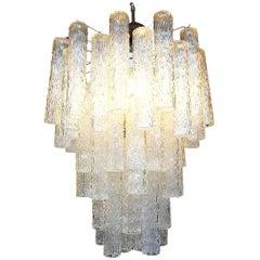 Midcentury Venini Style Italian Murano Glass Chandelier