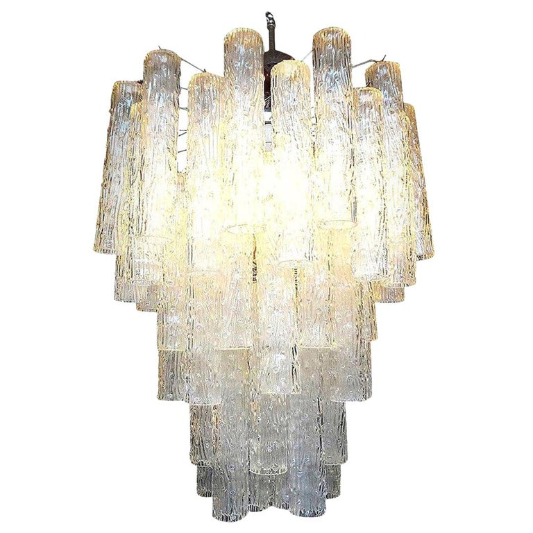 Midcentury Venini Style Italian Murano Glass Chandelier For Sale