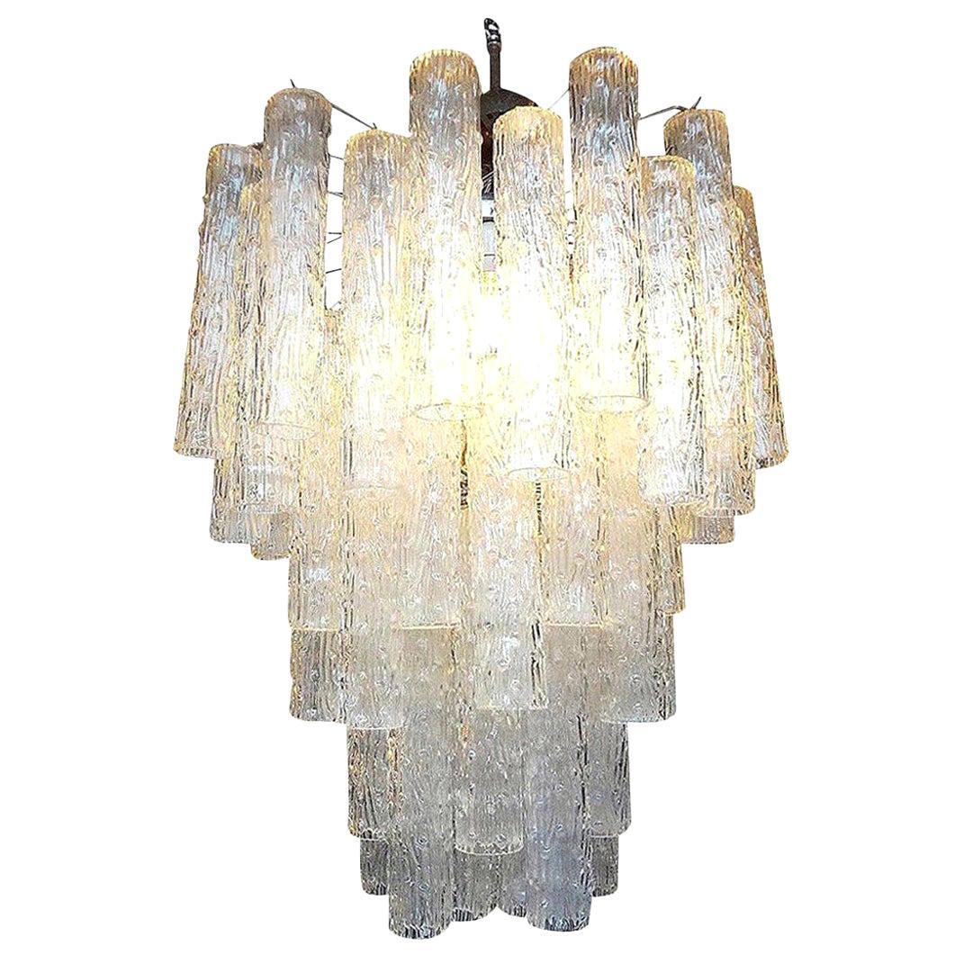 Midcentury Venini Style Italian Murano Glass Tronchi Chandelier