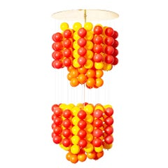 Midcentury Verner Panton Style Red Orange & Yellow Ball Chandelier Pendant Lamp