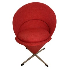 Midcentury Verner Panton Swivel Cone Chair Made in Denmark, circa 1960s