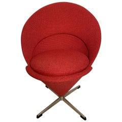 Midcentury Verner Panton Swivel Cone Chair Made in Denmark, circa 1960s