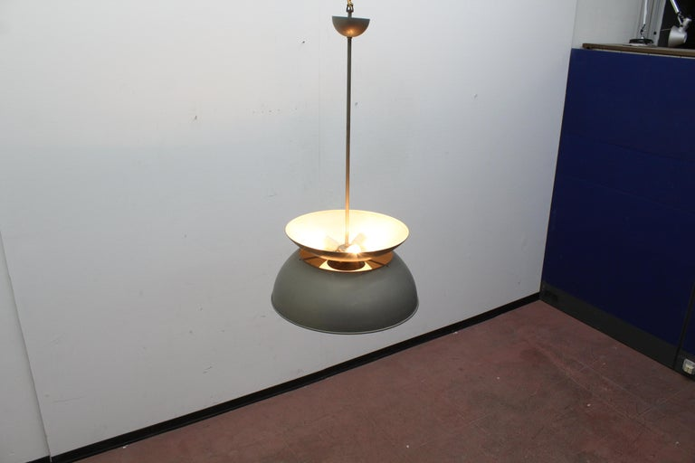 Midcentury Vico Magistretti Metal Cetra Hanging Lamp Artemide, Italy, 1960 For Sale 7
