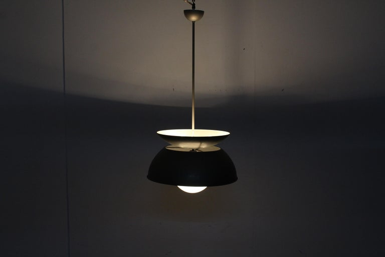 Midcentury Vico Magistretti Metal Cetra Hanging Lamp Artemide, Italy, 1960 For Sale 8